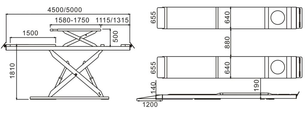 SHL-Y-J-45CCBL/50CCBL Ultrathin Double Level Scissor Lift for Four Wheel Alignment
